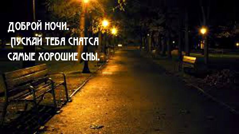 Доброй ночи. Пускай тебя снятся самые хорошие сны.
