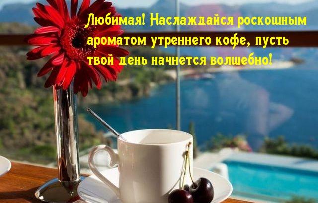 Любимая! Наслаждайся роскошным  ароматом утреннего кофе